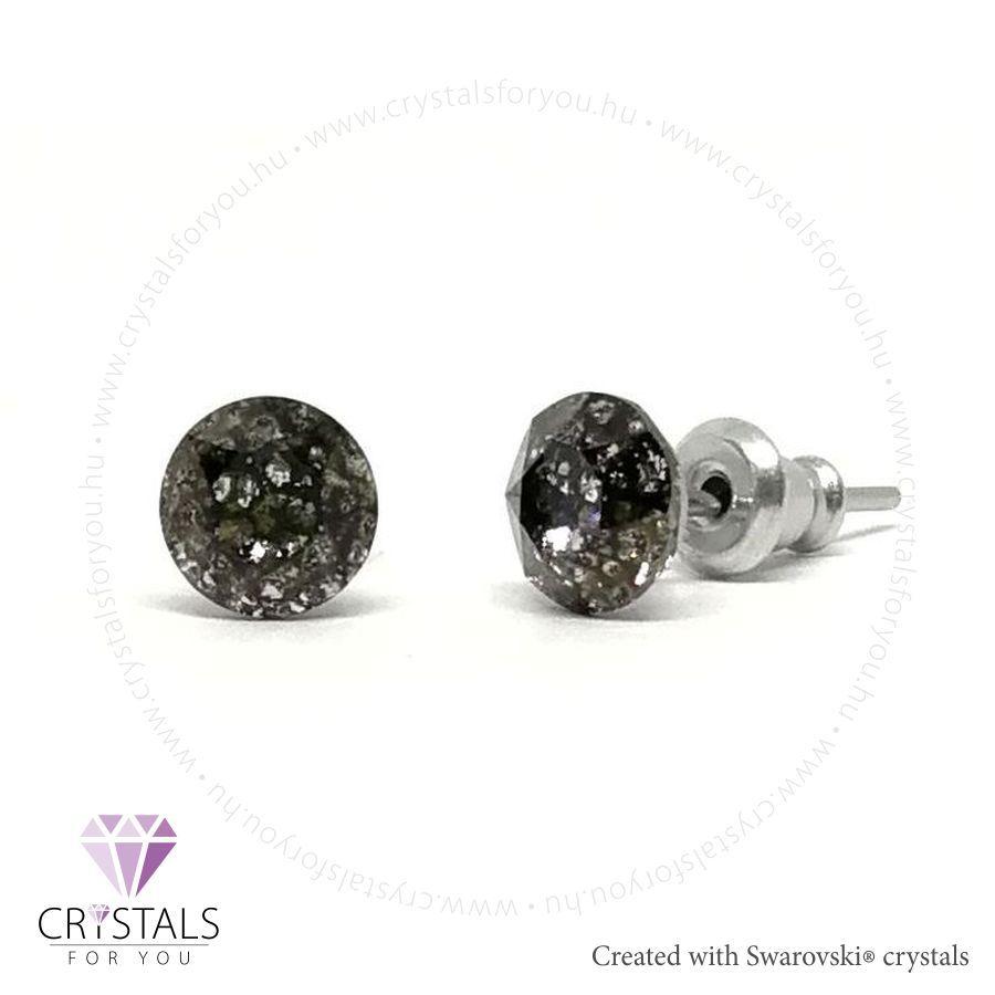 Swarovski® kristállyal díszített kör alakú fülbevaló - 56 Black Patina szín