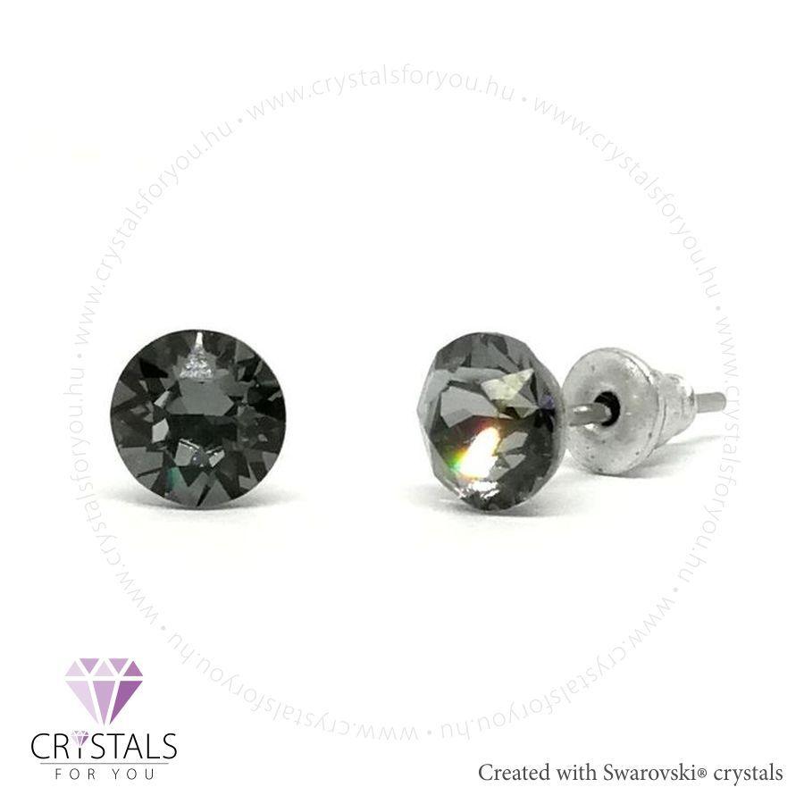Swarovski® kristállyal díszített kör alakú fülbevaló - 58 Silver Night szín