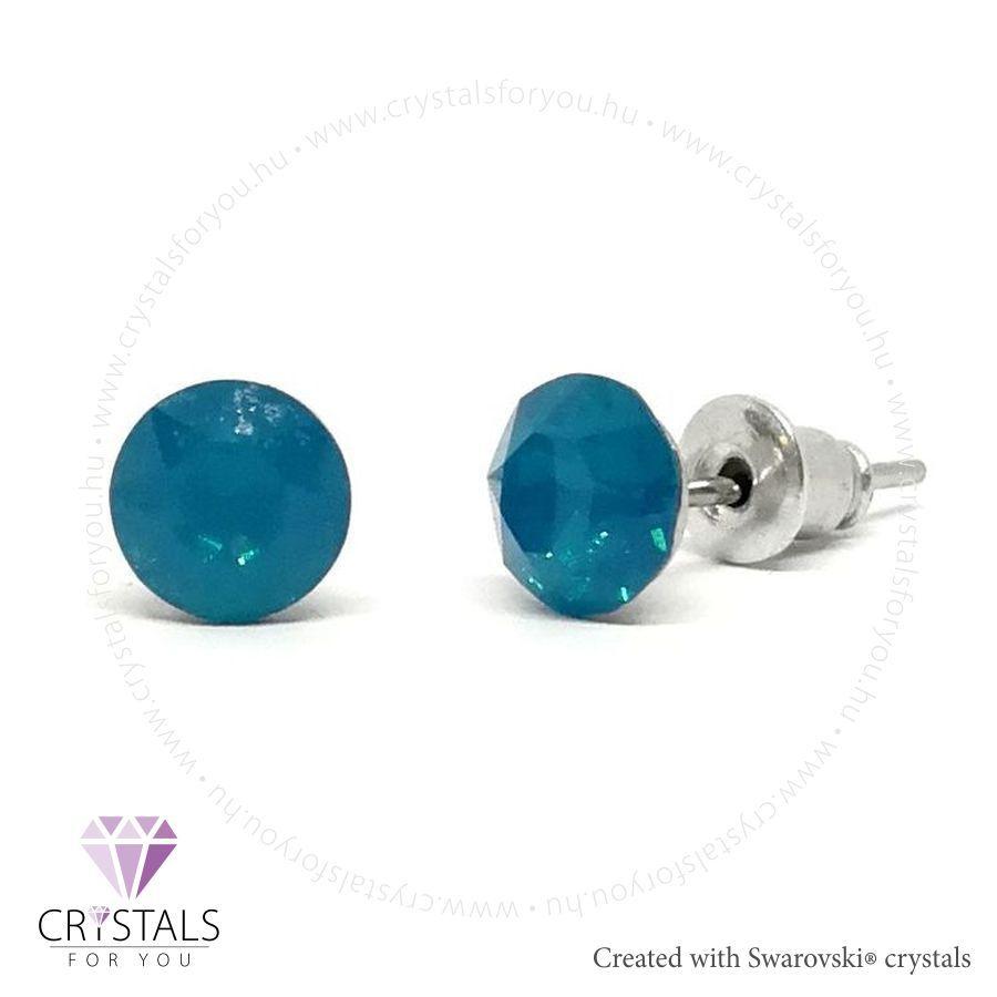 Swarovski® kristállyal díszített kör alakú fülbevaló - 16 Caribbean Blue Opal szín