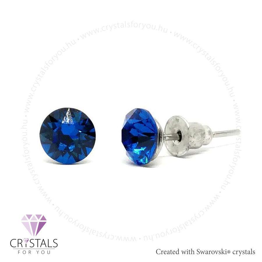 Swarovski® kristállyal díszített kör alakú fülbevaló - 23 Capri Blue szín