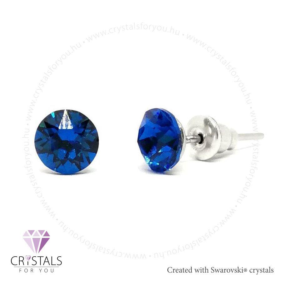 Swarovski® kristállyal díszített kör alakú fülbevaló - 24 Majestic Blue szín