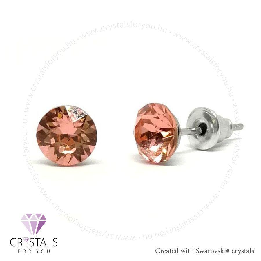 Swarovski® kristállyal díszített kör alakú fülbevaló - 27 Rose Peach szín