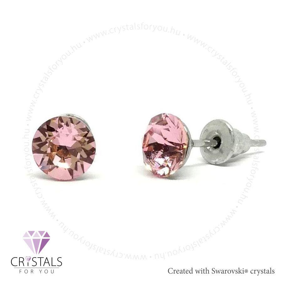 Swarovski® kristállyal díszített kör alakú fülbevaló - 10 Light Rose szín