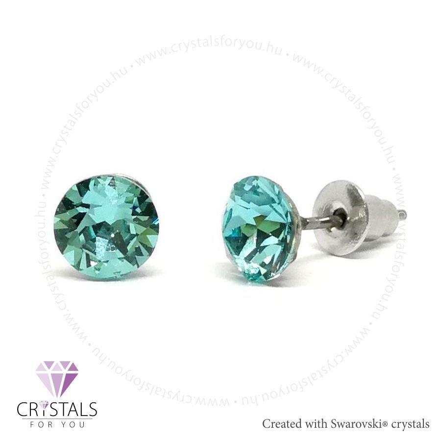 Swarovski® kristállyal díszített kör alakú fülbevaló - 14 Light Turquoise szín