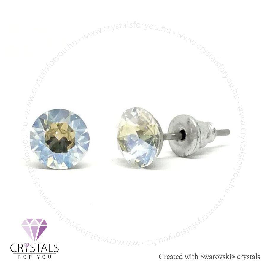 Swarovski® kristállyal díszített kör alakú fülbevaló - 02 Moonlight szín