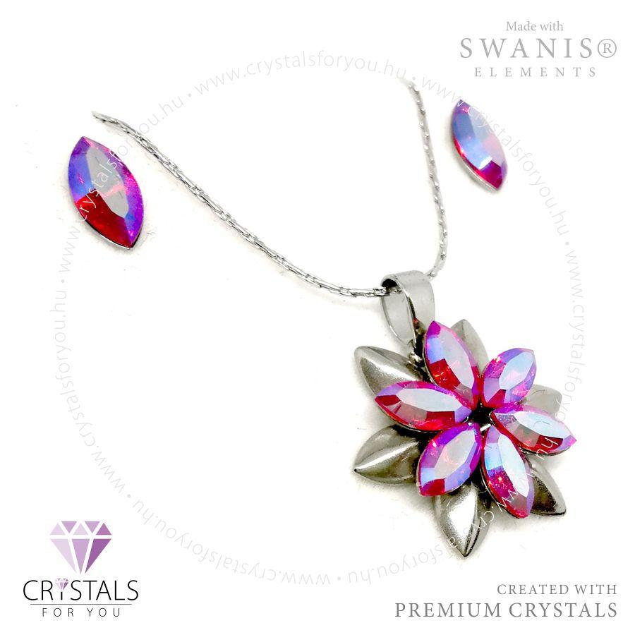 Dupla virág szett Swarovski® kristállyal díszítve