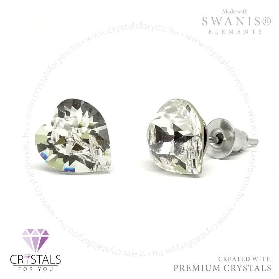 Swarovski® kristállyal díszített szív alakú fülbevaló