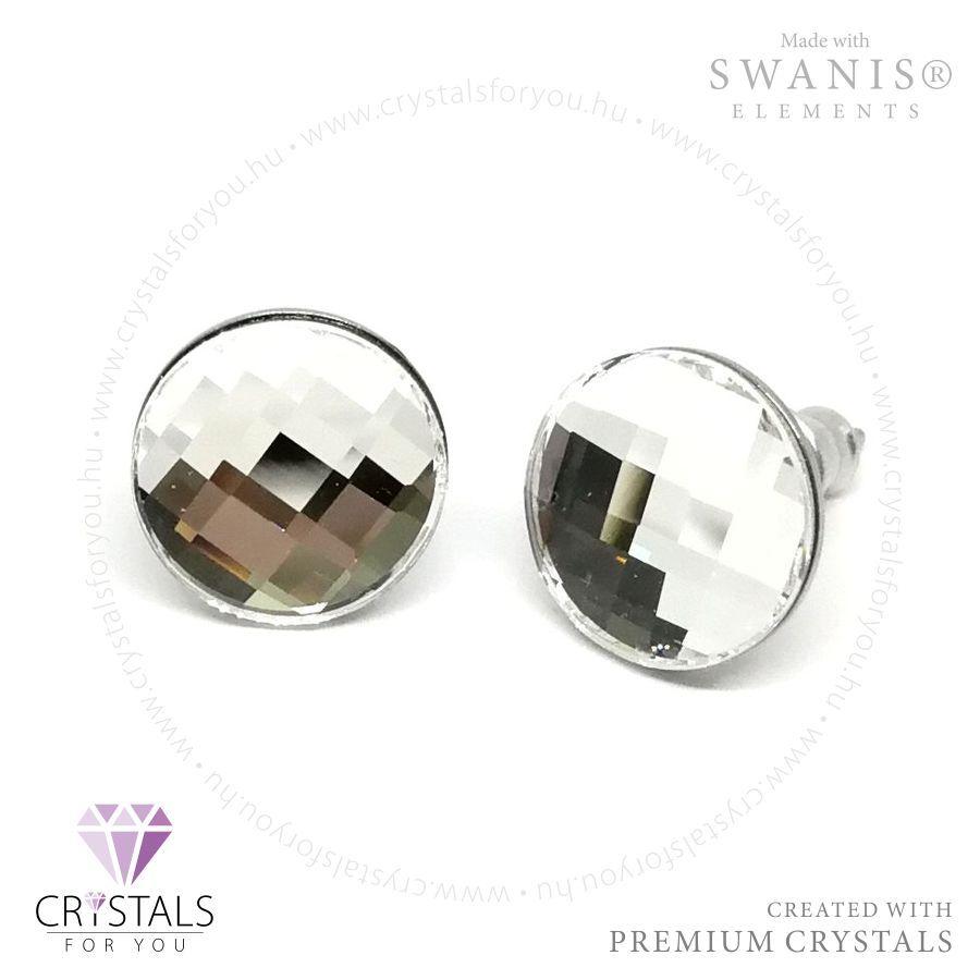 Swarovski® kristállyal díszített kör alakú fülbevaló rácsos csiszolással