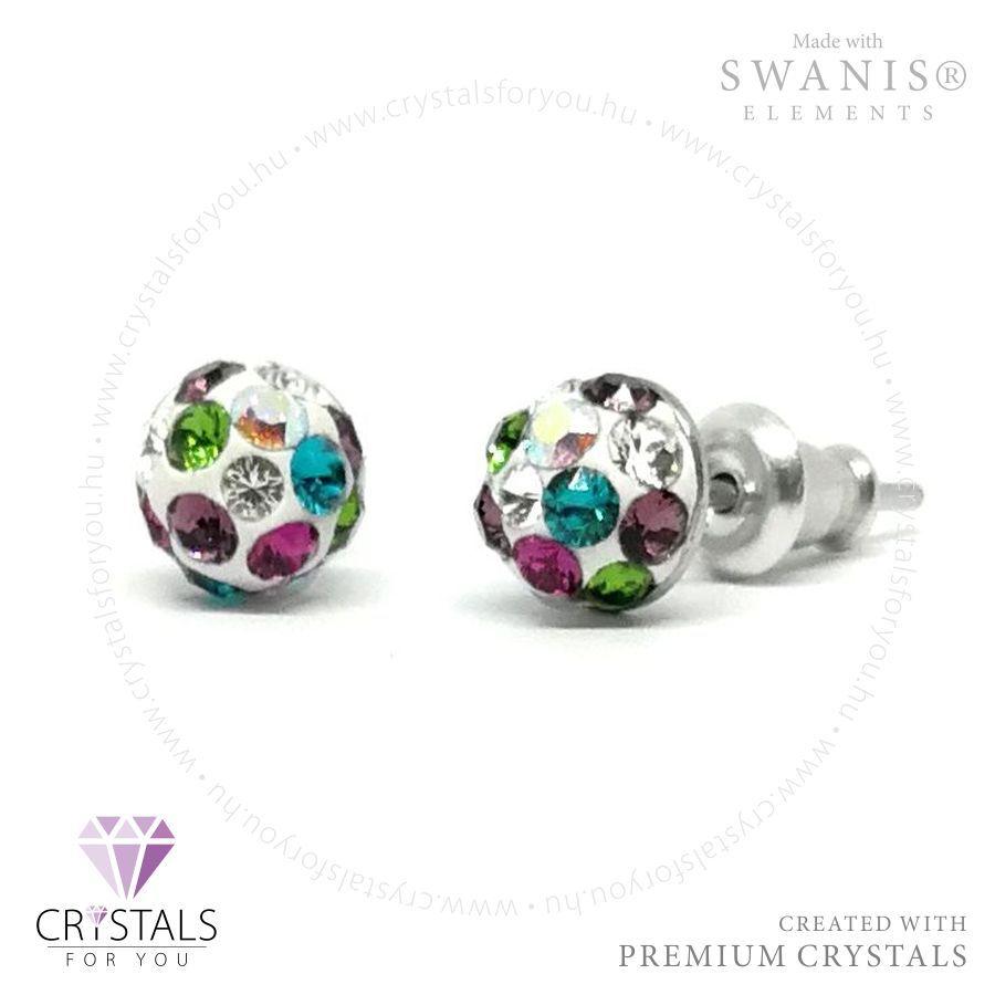 Swarovski® kristállyal díszített gömb alakú sok köves fülbevaló