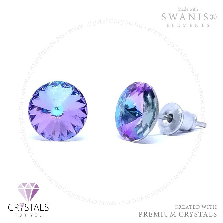 Swarovski® kristállyal díszített kör alakú fülbevaló kúpos csiszolással